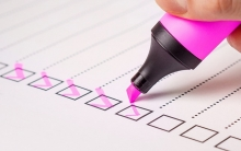 Checklist made with pink highlighter